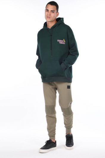 Зеленая мужская толстовка с капюшоном и принтом с карманами на спине кенгуру - Thumbnail