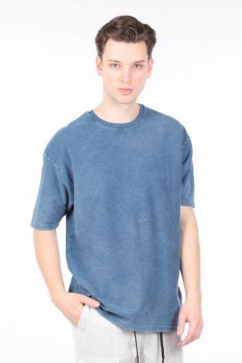 Мужская футболка с круглым вырезом цвета индиго - Thumbnail