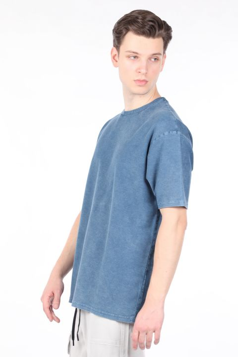 Мужская футболка с круглым вырезом цвета индиго