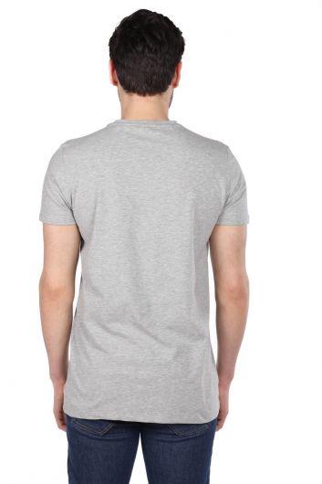 Men's Jakob Color Printed Crew Neck T-Shirt - Thumbnail