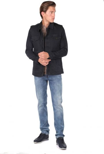 جاكيت أسود ذو ياقة مستقيمة للرجال - Thumbnail