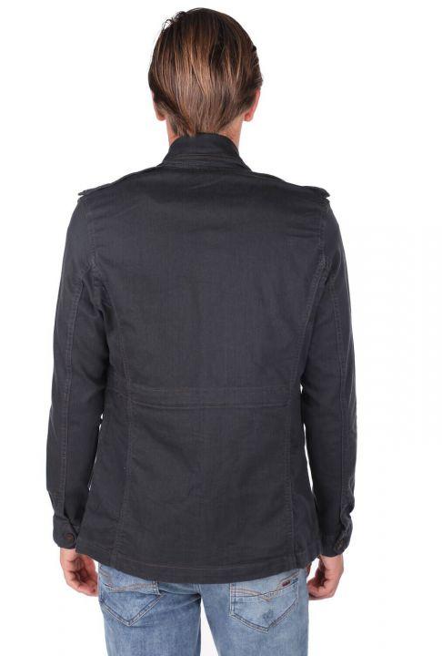 Men's Collar Black Straight Jacket