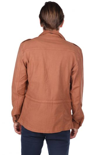Men's Crew Neck Pocket Detailed Straight Jacket - Thumbnail