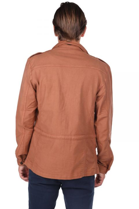 Men's Crew Neck Pocket Detailed Straight Jacket