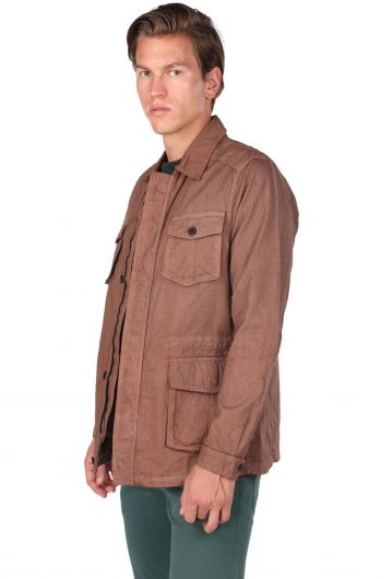 Мужская прямая куртка с воротником-стойкой и карманом на молнии - Thumbnail