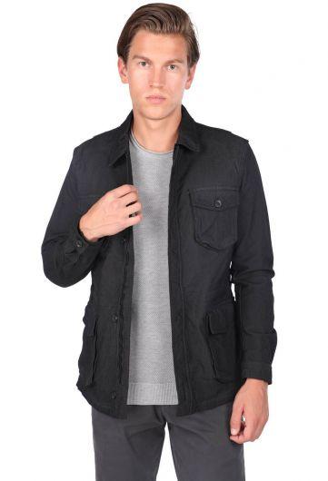 MARKAPIA MAN - Мужская прямая куртка с воротником-стойкой и карманом на молнии (1)