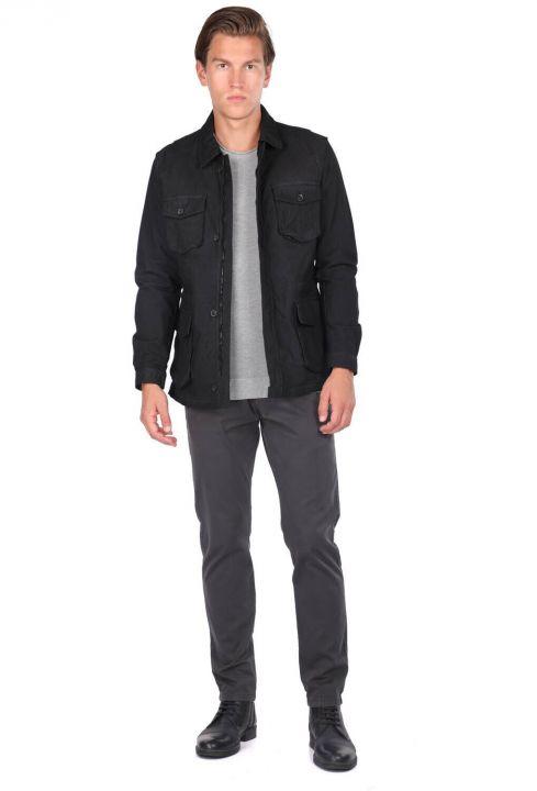 Мужская прямая куртка с воротником-стойкой и карманом на молнии