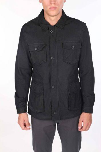 Men's Judge Collar Zippered Pocket Straight Jacket - Thumbnail