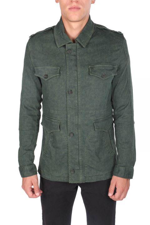 Мужская смирительная куртка с зеленым карманом и воротником для судьи