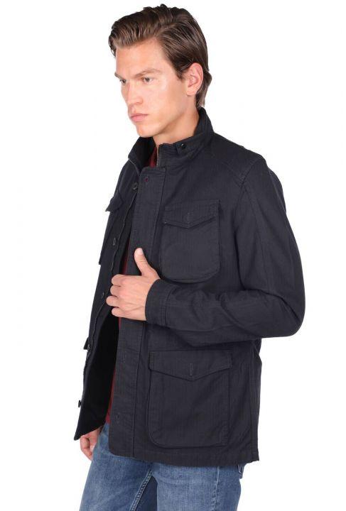 Мужская прямая куртка с круглым вырезом