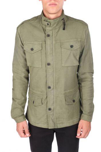 Мужская прямая куртка с круглым вырезом - Thumbnail