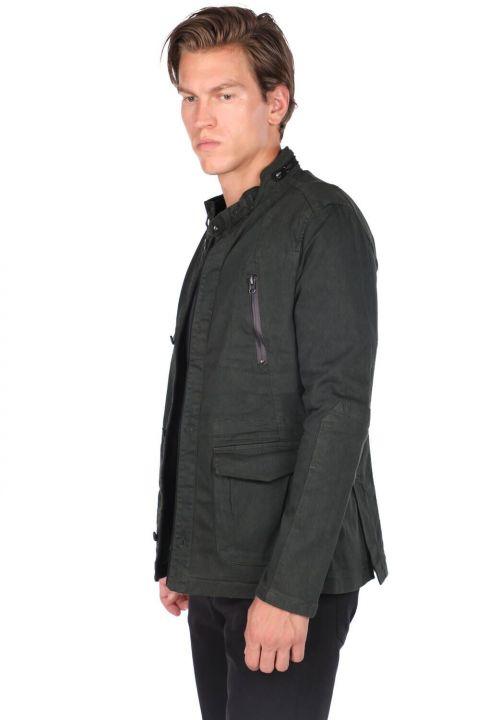 Мужская смирительная куртка цвета хаки с воротником-стойкой