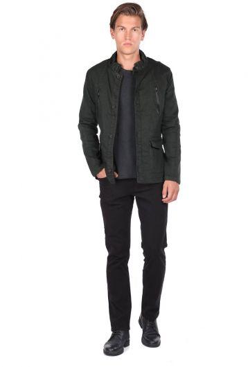 Мужская смирительная куртка цвета хаки с воротником-стойкой - Thumbnail