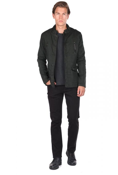 Men's Judge Collar Khaki Straight Jacket