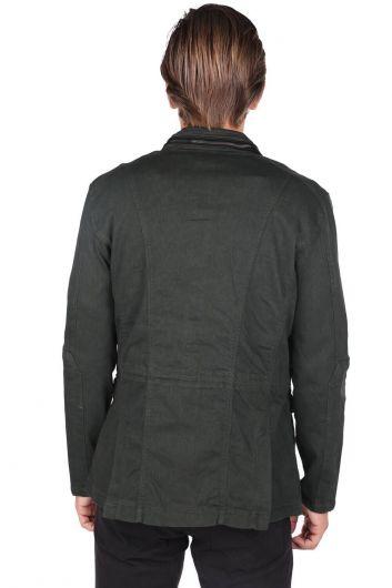 Men's Judge Collar Khaki Straight Jacket - Thumbnail
