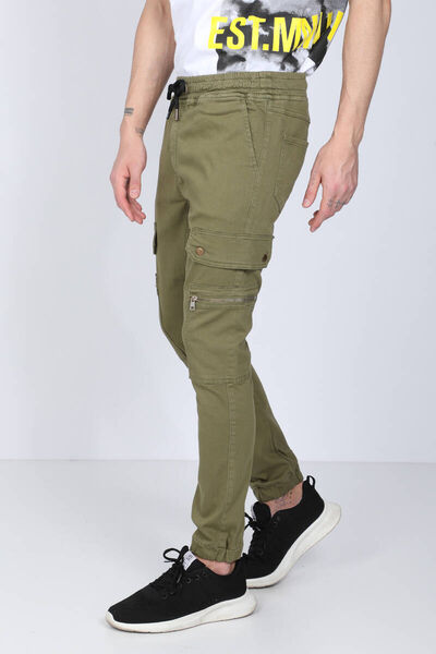 BLUE WHITE - Men's Khaki Cargo Pocket Jogger Trousers (1)