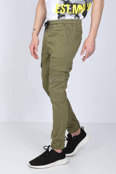BLUE WHITE - Мужские брюки-джоггеры цвета хаки с карманами карго (1)