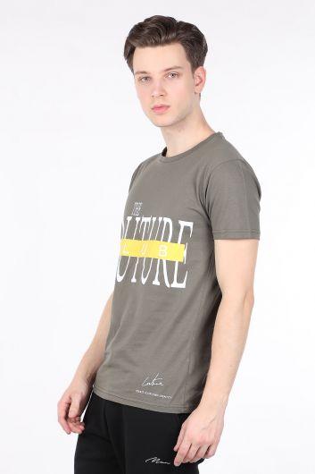COUTURE - Мужская футболка с круглым вырезом и принтом цвета хаки от кутюр (1)
