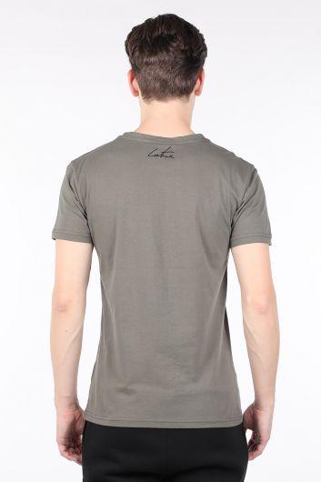 Мужская футболка с круглым вырезом и принтом цвета хаки от кутюр - Thumbnail