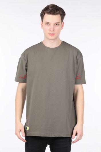 Men's Khaki Crew Neck Oversize T-shirt - Thumbnail