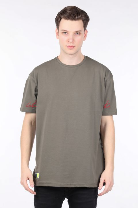 Men's Khaki Crew Neck Oversize T-shirt