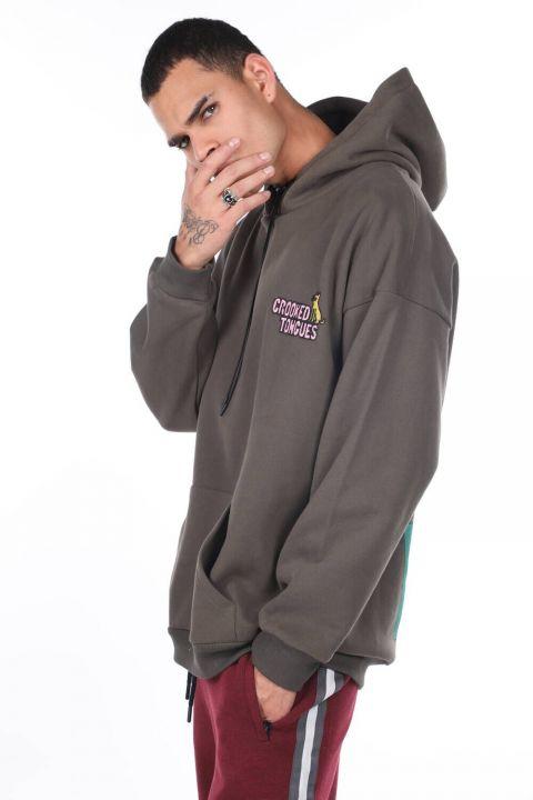 Men's Khaki Kangaroo Pocket Back Printed Hooded Sweatshirt