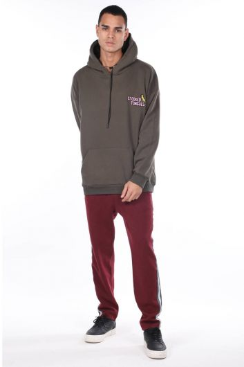 Men's Khaki Kangaroo Pocket Back Printed Hooded Sweatshirt - Thumbnail