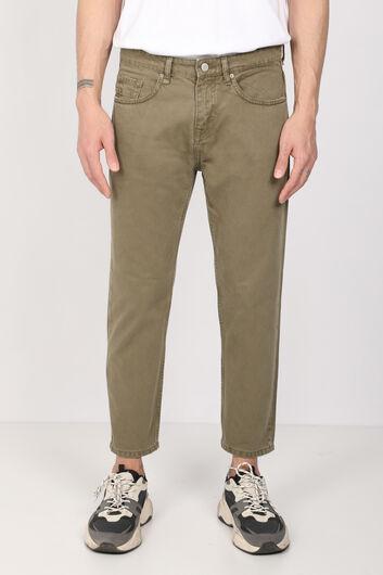 Мужские джинсовые брюки цвета хаки со средней талией - Thumbnail