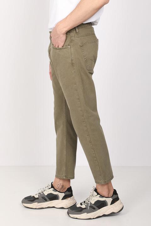 Мужские джинсовые брюки цвета хаки со средней талией