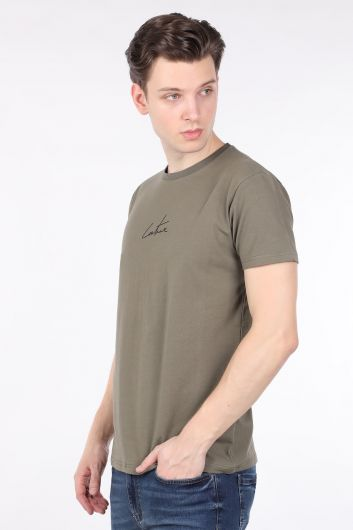COUTURE - Men's Khaki Printed Back Crew Neck T-shirt (1)
