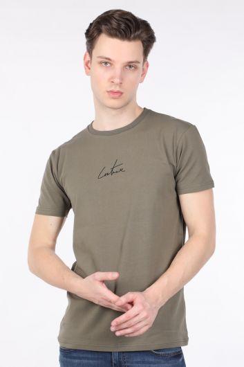 Мужская футболка с круглым вырезом на спине и принтом цвета хаки - Thumbnail