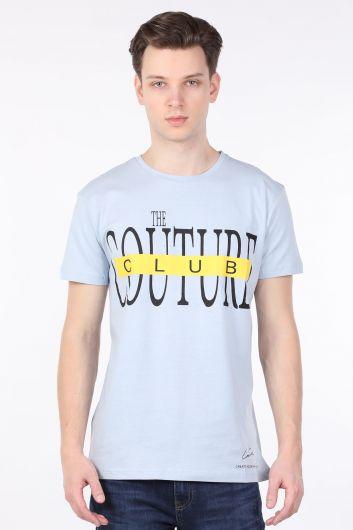 Men's Light Blue Couture Printed Crew Neck T-shirt - Thumbnail