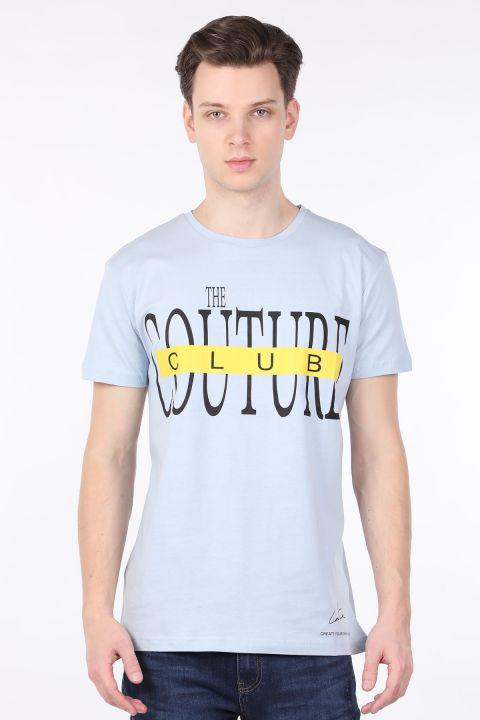 Men's Light Blue Couture Printed Crew Neck T-shirt