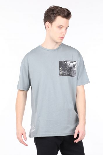 Мужская открытая дымчатая футболка с круглым вырезом - Thumbnail