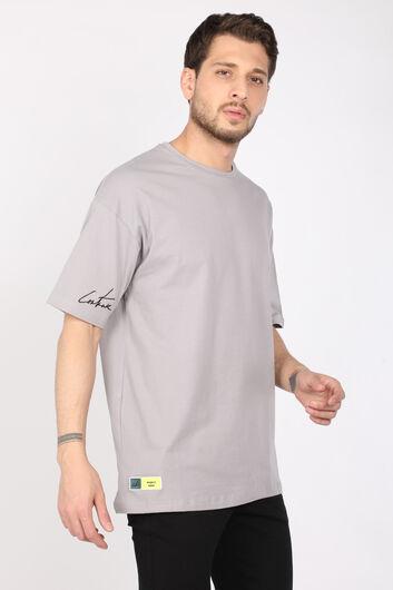 Men's Light Gray Crew Neck Oversize T-shirt - Thumbnail