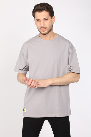 COUTURE - Men's Light Gray Crew Neck Oversize T-shirt (1)