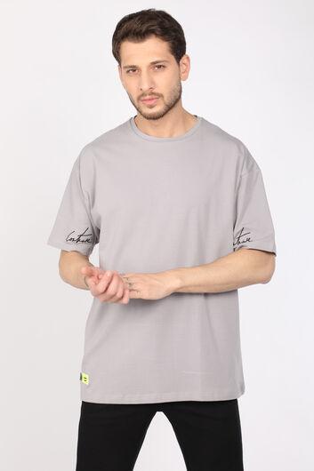 COUTURE - Мужская светло-серая футболка оверсайз с круглым вырезом (1)