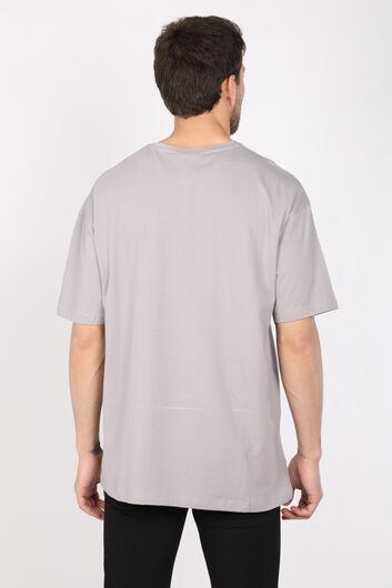 Мужская светло-серая футболка оверсайз с круглым вырезом - Thumbnail