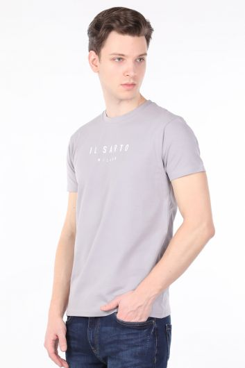 Men's Light Gray Crew Neck T-shirt - Thumbnail