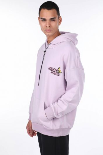 MARKAPIA MAN - Men's Lilac Kangaroo Pocket Back Printed Hooded Sweatshirt (1)