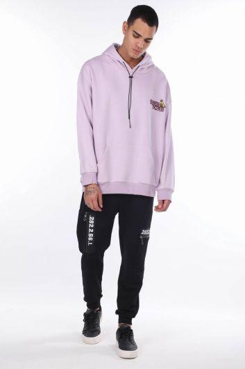 Men's Lilac Kangaroo Pocket Back Printed Hooded Sweatshirt - Thumbnail