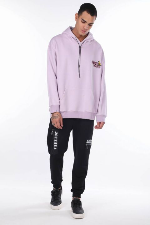 Men's Lilac Kangaroo Pocket Back Printed Hooded Sweatshirt