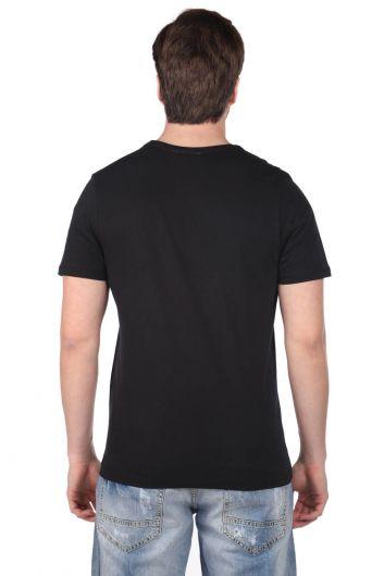 Маленькая мужская футболка с круглым вырезом и принтом Vosvos - Thumbnail