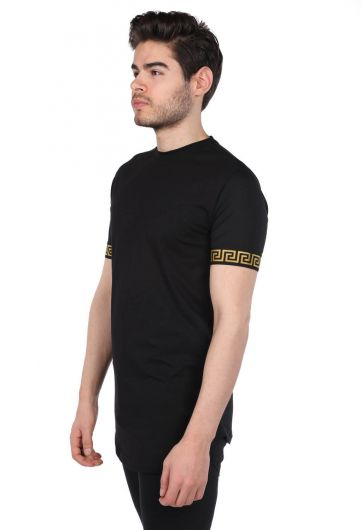 MARKAPIA - Loyal Sleeve Detailed Black Men's Crew Neck T-Shirt (1)