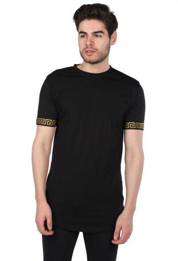 Черная мужская футболка с круглым вырезом и детализированными рукавами Loyal - Thumbnail