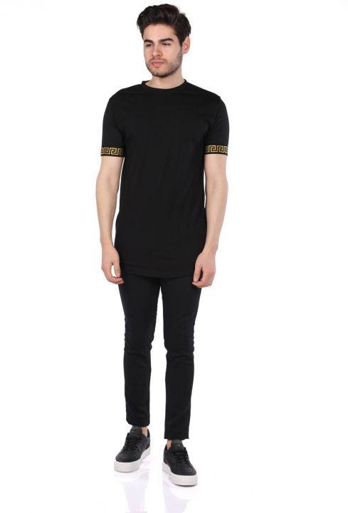 Черная мужская футболка с круглым вырезом и детализированными рукавами Loyal