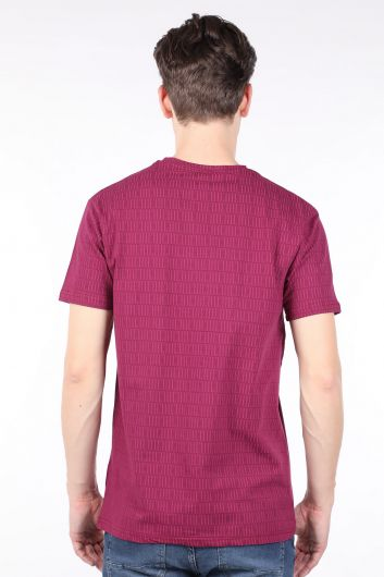 Men's Damson Printed Crew Neck T-shirt - Thumbnail