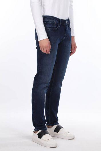 بنطلون جينز أزرق كحلي للرجال - Thumbnail