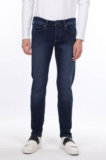 Мужские темно-синие джинсовые брюки прямого кроя - Thumbnail