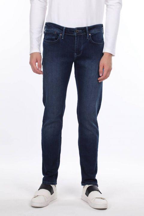 Мужские темно-синие джинсовые брюки прямого кроя